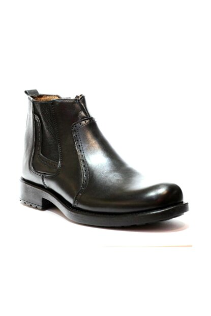 Genuine Leather Black Men Boots PRA-147242-162816