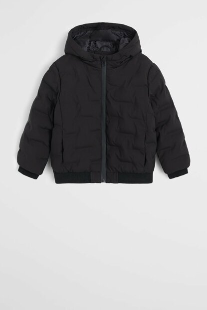 Black Boy Hooded Quilted Coat 53077680