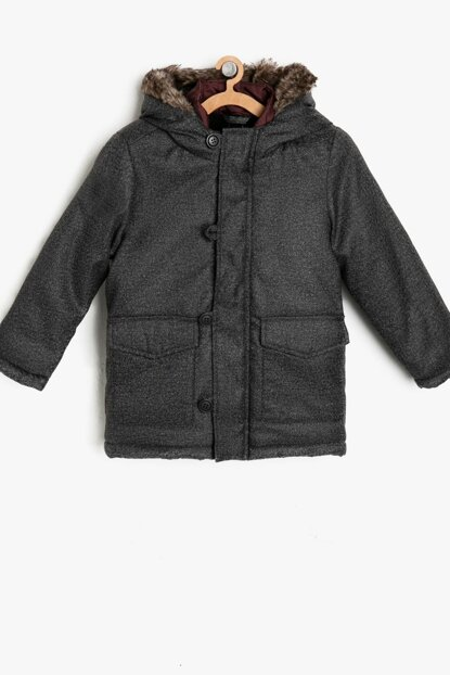 Gray Boy Hooded Coat 9KKB26530OW