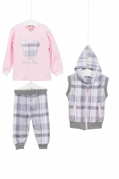 Gray Pink Baby Girl 3 Pieces Set AZZ003116