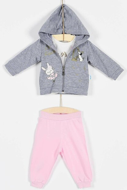 Buude Baby Girl Bottom top 3-piece Suit Hoody Silvery 6-18 Months 6829 B6829