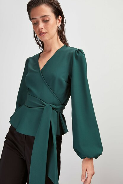 Emerald Green Double Breasted Collar Blouse TWOAW20BZ1089