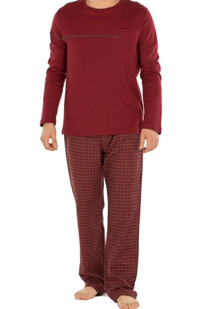 Men's Burgundy Pajamas Set 002-000467