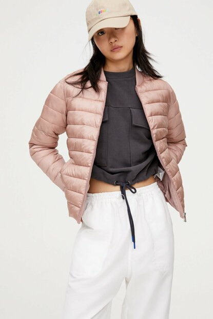 Women Pink Ribbed Inflatable Coat 09714233