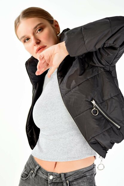 Women's Black Inflatable Coat M21-5232- C13 ADX-0000019642