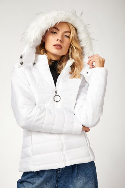 Women's White Furry Hooded Inflatable Coat DD00249