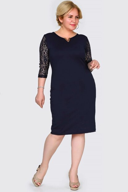 Women's Sleeves Lace Processing Back Button Detail Navy Blue Dress ELB000136818