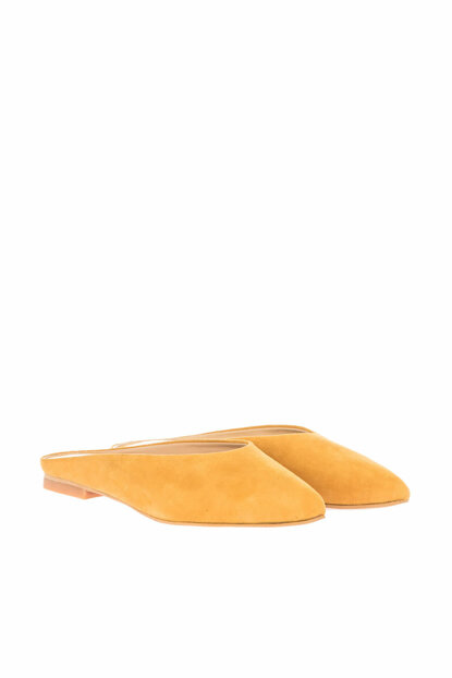 Genuine Leather Yellow Women Slippers 01TEH123430A520