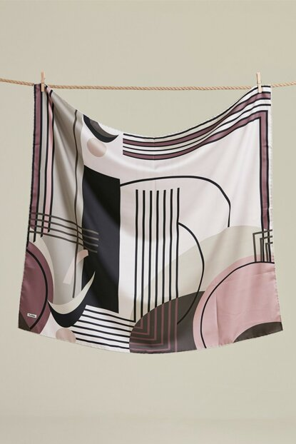 Women Gul Kurusu Patterned Polyester Scarf HSE5002