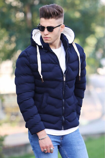 Navy Blue Hooded Inflatable Coat M-61