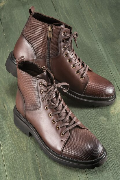 OUSMANE Genuine Leather Brown Men Boots 18KKOM8622-5078