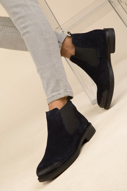 Navy Blue Men's Boots 2880 Genuine Leather