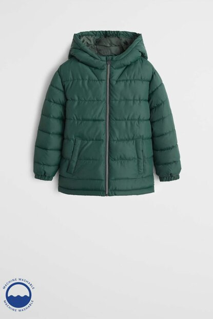 Dark Green Boy Hooded Quilted Coat 53055009