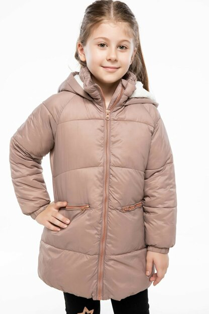 Maroon Girl Hooded Parka I9766A6.18WN.BR344