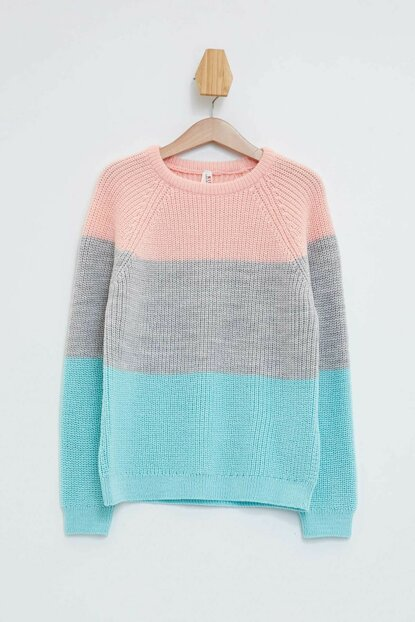 Knitted Sweater with Color Block L3830A6.19AU.PN238