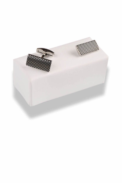 Silver Gray Rectangle Cufflink KD501