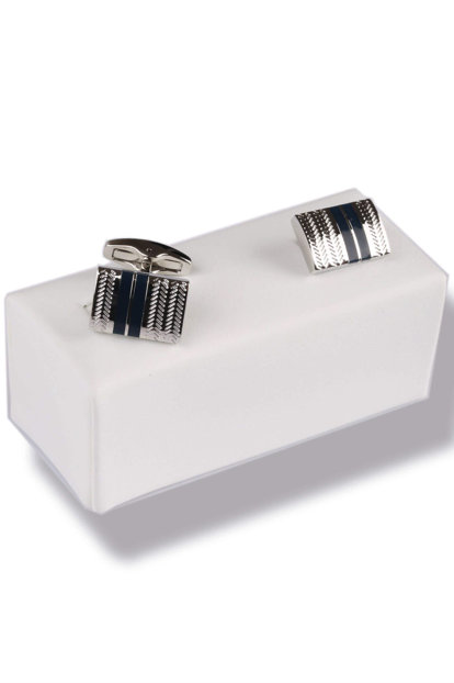 Navy Blue - Silver Color Cufflink KD430