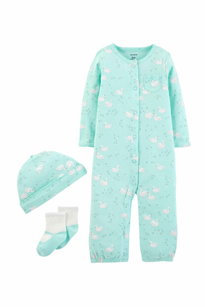 Turquoise Layette Baby Girl Set of 3 126H552