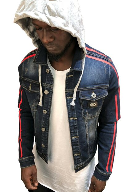 Men's Blue Denim Jacket Hooded Slim Fit RPBLC2096