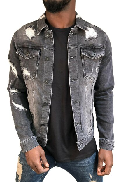 Men's Black Ripped Denim Jacket Slim Fit RPBLC4745