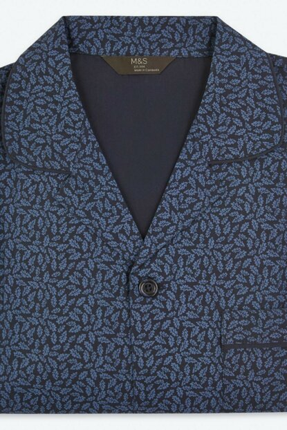 Men's Blue Cotton Patterned Pajama Set T07001575