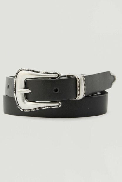Women's Black Slim Cowboy Belt 09873310