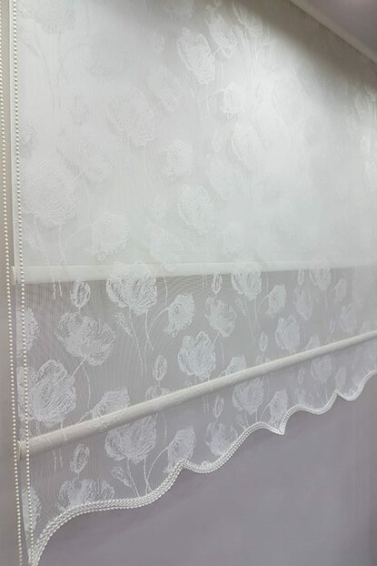 180X200 Double Mechanism Tulle Curtain and Roller Blinds MT1093 8605480888978