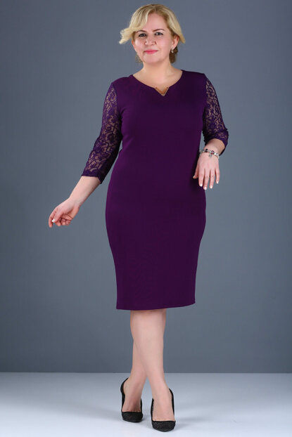 Women's Purple Sleeves Lace Processing Back Button Detail Dark Evening Dress ELB000136818