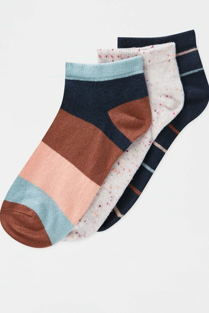 Women's Brick 3-Piece Striped Ankle Socks Package 09893342