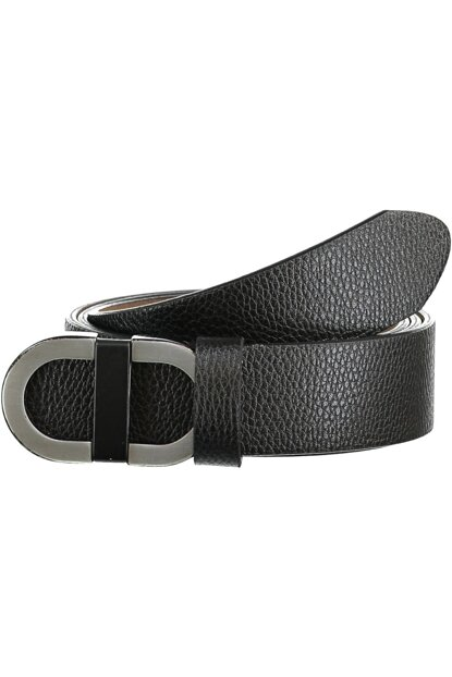 Black Men's Metal Buckle Faux Leather Belt TMNAW20KE0020