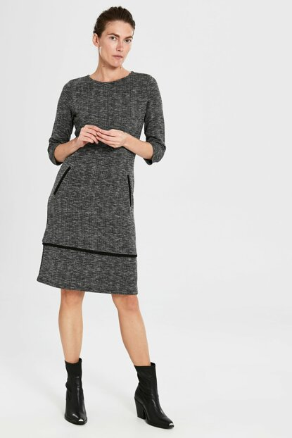Women's Gray Jacquard Dress 9WR762Z8