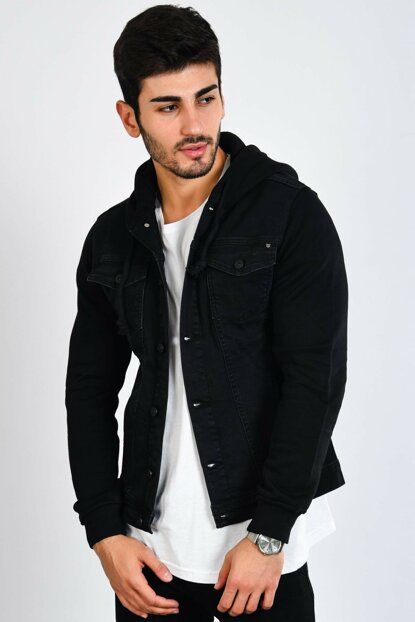 Sleeve Hooded Black Men Denim Jacket ck2105