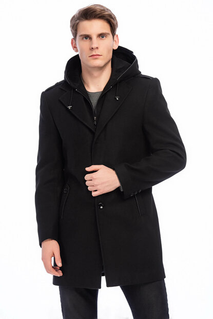 Men's Black Wool Blended Stamp Detachable Hooded Coat with Zipper and Button Front 9150