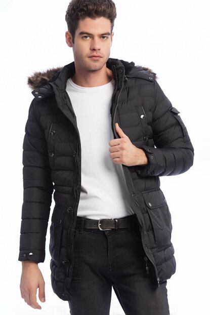 Men's Black Removable Faux Fur Coat Removable Hooded Plush Lined Thick Coat 3945