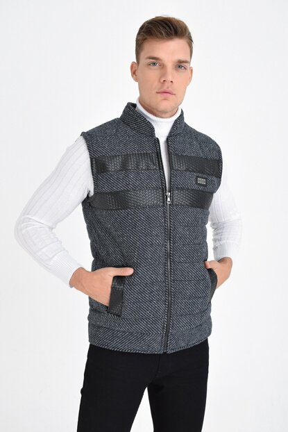 Men's Black Wool Stamped Fabric Zippered Artificial Leather Vest Waistcoat 4350