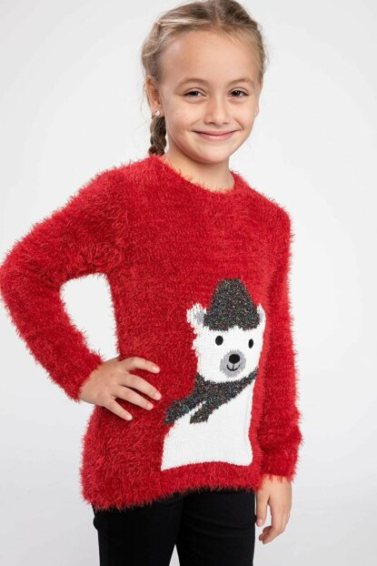 Red Young Girl Plush Teddy Bear Printed Knitwear Sweater J0639A6.18WN.RD62