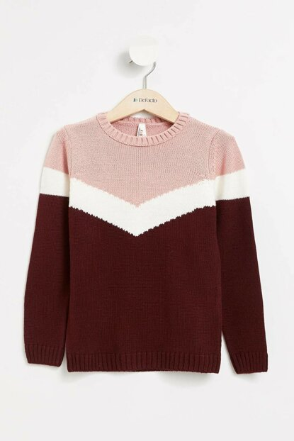 Maroon Girl Kids Color Blocked Sweater Pullover K9562A6.19WN.BR310