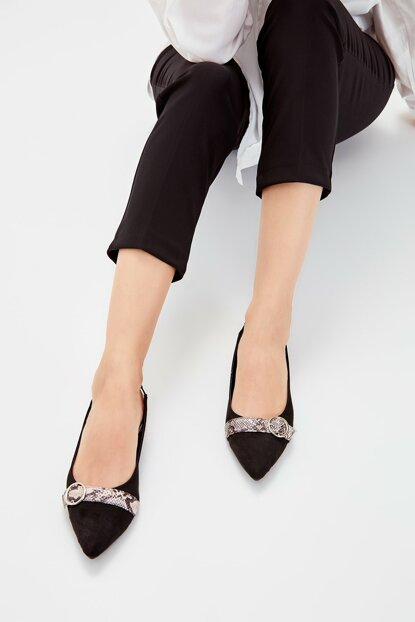 Black Suede Women's Flats TAKAW20BE0014