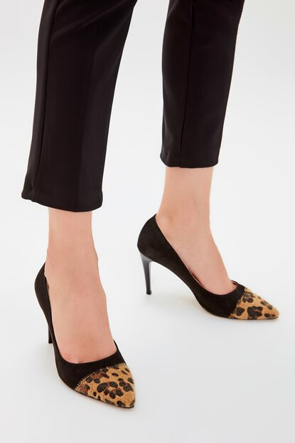 Black Suede Leopard Detailed Women Heeled Shoes TAKAW20TO0030