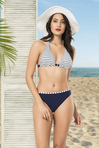 Women's White-Navy Triangle Bikini Set NB19YBK00020