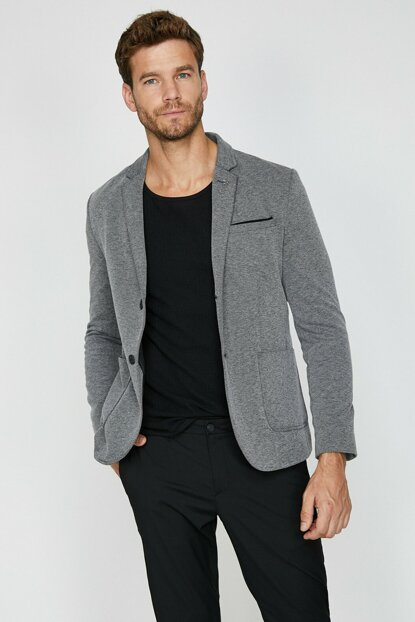 Men's Gray Button Detailed Jacket 0KAM59212NW