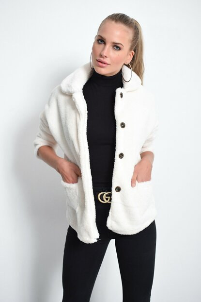 Women Ecru Plush Coat DA31