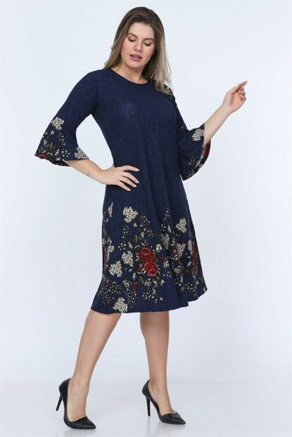Women's Blue Flower Pattern Flywheel Sleeve Short Dress NB00027