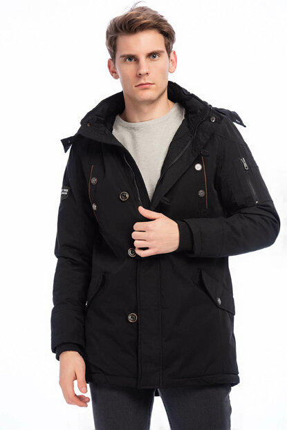 Men's Black Removable Hooded Faux Fur Lined Thick Coat 2165