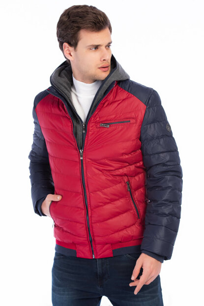 Men's Red Removable Hooded Front Double Zipper Closure Inflatable Coats 3995