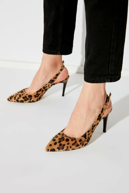 Brown Thai Feather Leopard Pattern Women Heels Shoes TAKAW20TO0034