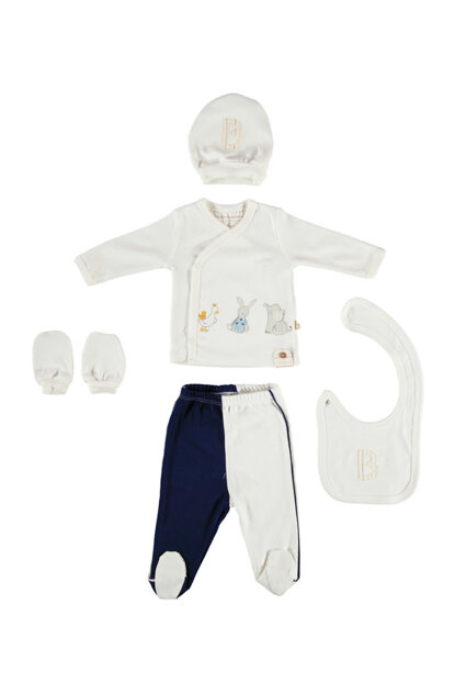 Ecru-Navy Blue Baby Boy Baby Boy 5 Li Layette Set B02500062069