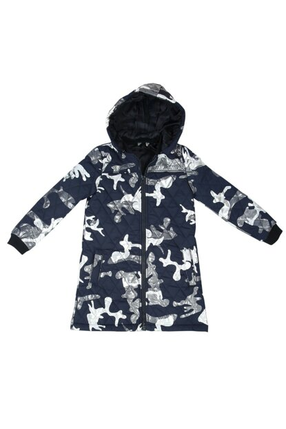 Girl's Hooded Coat Sleeve with Ribbon - Navy Blue - 12 YEARS - 152cm Length 11771-