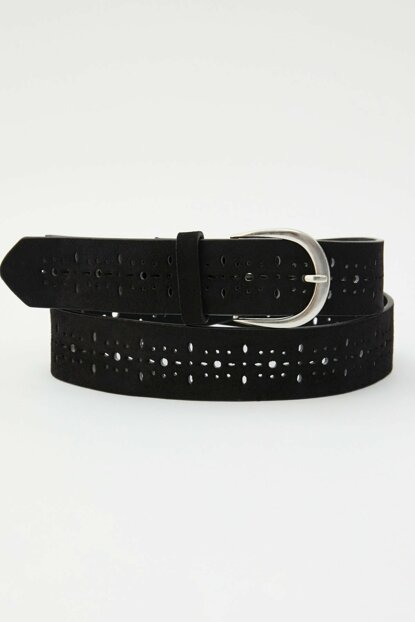 Women's Black Buckle And Perforated Belt 05874309