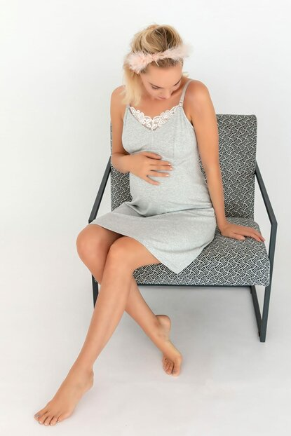 Women's Gray Melange Mom Ruched Breastfeeding Multifunctional Modal Combed Nightgown 29748-B116